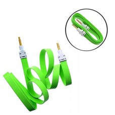 Nice Quality Green 3.5mm Aux Stereo Male To Male Aux Flat No Tangle Noodle Cable Cord For Apple Ipad4 Ipad Air Ipad Mini Iphone 5/5s,ipod All Mp3 Mp4 Players Sony Creative Samsung, All Laptop Pc And Ard 3.5mm Jack Plug By G4gadget®