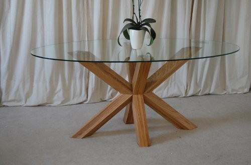 Venice 4ft6 Round Glass And Oak Dining Table