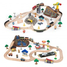 Children's Bucket Top Train Set - Available In Mountain & Construction Designs