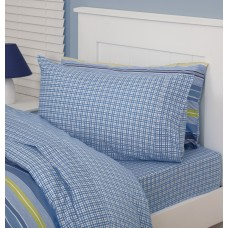Blue Check Double Fitted Sheet And Pillowcases