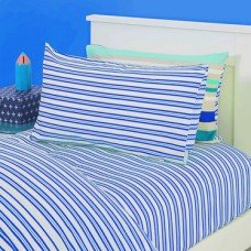 Blue Stripe Single Fitted Sheet And Pillowcase - Oliver