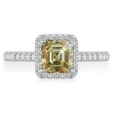 Fancy Yellow Asscher Cut Diamond Halo Shoulder Set Ring