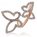 Double Butterfly Round Diamond Dress Ring