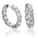 Elegant Round Diamond Hoop Earrings