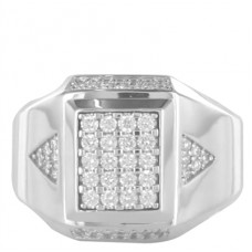 10mm Round Diamond Cluster Mens Ring