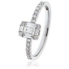Modern Round And Baguette Diamond Ring