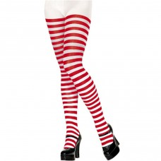 Red And White Stripe  Ladies Teens Elf Christmas Tights Wheres Wally Tights