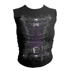 Spiral Female Waisted Corset Sleeveless Top  Small  Black (g010t085-7)