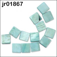 13 X Turquoise Square Shell Beads