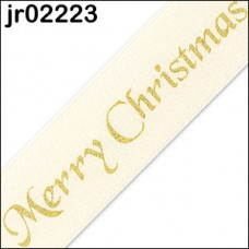 Cream Merry Christmas Ribbon 25mm