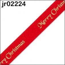 Red Merry Christmas Ribbon 10mm