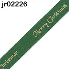 Green Merry Christmas Ribbon 10mm