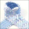 Glossy Sky Blue Elastic Sequin Trim. 42mm