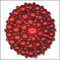 Red Beaded Button. 38mm