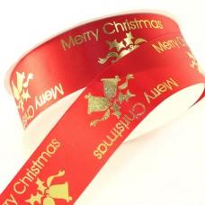 Merry Christmas Jingle Bells Ribbon. Red - 32mm