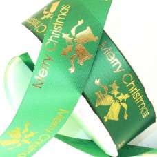 Merry Christmas Jingle Bells Ribbon. Green - 32mm