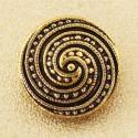 Deco Swirl Button. Gold. 18mm / Ligne 28