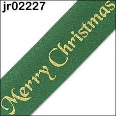 Green Merry Christmas Ribbon 25mm
