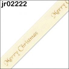 Cream Merry Christmas Ribbon 10mm