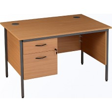 Annandale H-leg Rectangular Desks With Single Fixed Pedestal