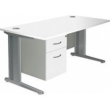 Next Day Aura Rectangular Single Fixed Pedestal Desks