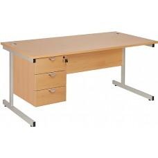 Commerce Rectangular Desks With Single Fixed Pedestal