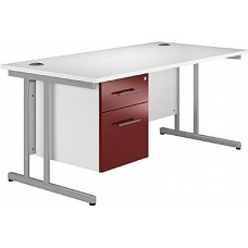 Next Day Pure Cantilever Rectangular Desks With Single Fixed Pedestal
