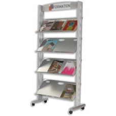 Fast Paper Literature Display Mobile 1-sided 4 Metal Shelves 38mm Lip W825xd385xh1680mm Ref 257tm.35