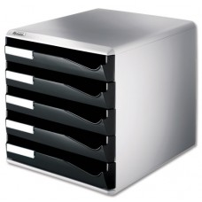 Leitz Post Set Filing Unit With 5 Drawers A4 W291xd352xh291mm Black And Grey Ref 5280-95