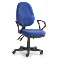 High Back Synchronised Task Operator Chair With Arms - Aqua