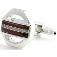 Red And White Crystal Cufflinks