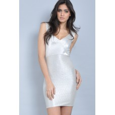 Tfnc Silver Open Back Dress