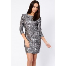 Tfnc Paris Silver Sequin Dress